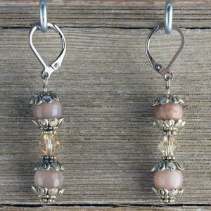 Faceted Peach Moonstone & Swarovski Earrings